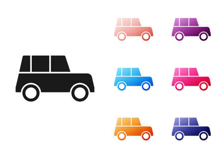 Black Car icon isolated on white background. Front view. Set icons colorful. Vector 向量圖像