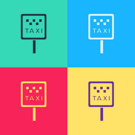 Pop art Road sign for a taxi stand icon isolated on color background. Vector