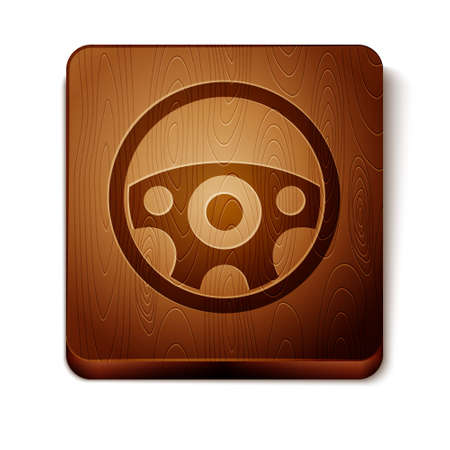 Brown Steering wheel icon isolated on white background. Car wheel icon. Wooden square button. Vector