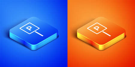 Isometric Parking icon isolated on blue and orange background. Street road sign. Square button. Vector