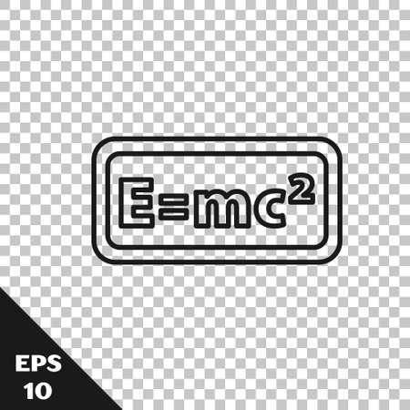 Black line Math system of equation solution icon isolated on transparent background. E equals mc squared equation on computer screen. Vector Ilustración de vector