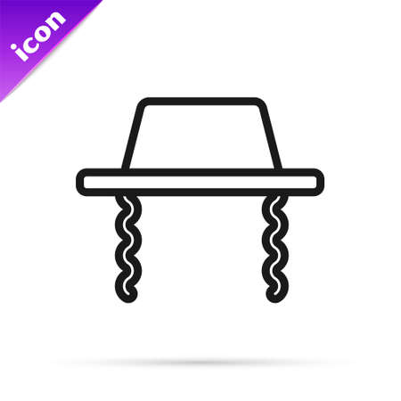 Black line Orthodox jewish hat with sidelocks icon isolated on white background. Jewish men in the traditional clothing. Judaism symbols. Vector