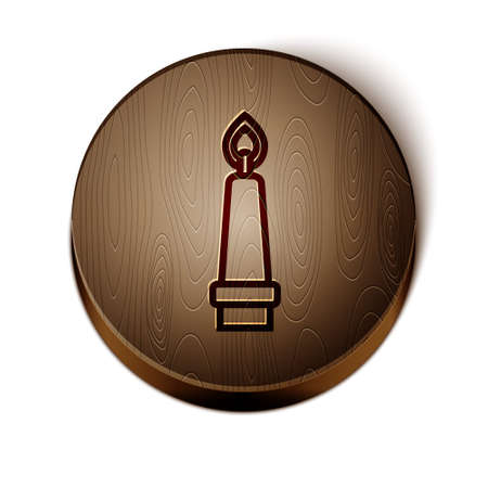 Brown line Burning candle in candlestick icon isolated on white background. Old fashioned lit candle. Cylindrical candle stick with burning flame. Wooden circle button. Vector