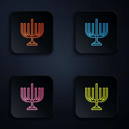 Color neon line Hanukkah menorah icon isolated on black background. Hanukkah traditional symbol. Holiday religion, jewish festival of Lights. Set icons in square buttons. Vector