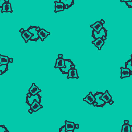 Blue line Currency exchange icon isolated seamless pattern on green background. Euro and Dollar cash transfer symbol. Banking currency sign. Vector 矢量图像
