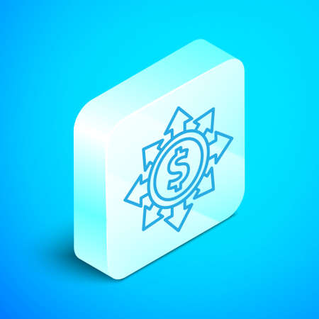 Isometric line Dollar, share, network icon isolated on blue background. Silver square button. Vector 矢量图像