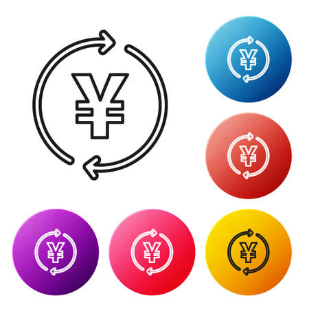 Black line Coin money with Yen symbol icon isolated on white background. Banking currency sign. Cash symbol. Set icons colorful circle buttons. Vector