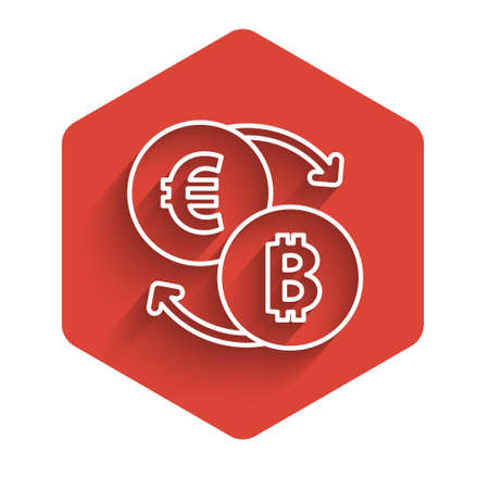 White line Cryptocurrency exchange icon isolated with long shadow. Bitcoin to euro exchange icon. Cryptocurrency technology, mobile banking. Red hexagon button. Vector