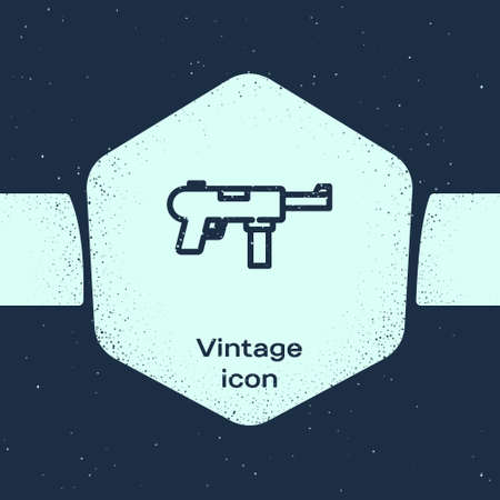 Grunge line   gun  Grease gun icon isolated on blue background. Monochrome vintage drawing. Vector