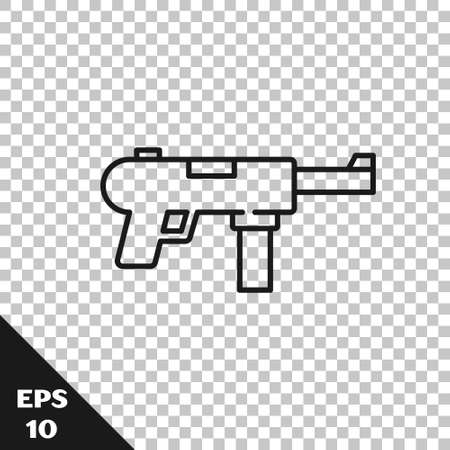 Black line Submachine gun, Grease gun icon isolated on transparent background. Vector