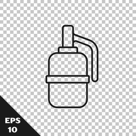 Black line Hand grenade icon isolated on transparent background. Bomb explosion. Vector 矢量图像