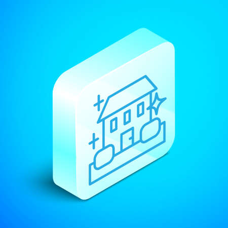 Isometric line Home cleaning service concept icon isolated on blue background. Building and house. Silver square button. Vector