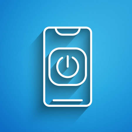 White line Turn off robot from phone icon isolated on blue background. Long shadow. Vector
