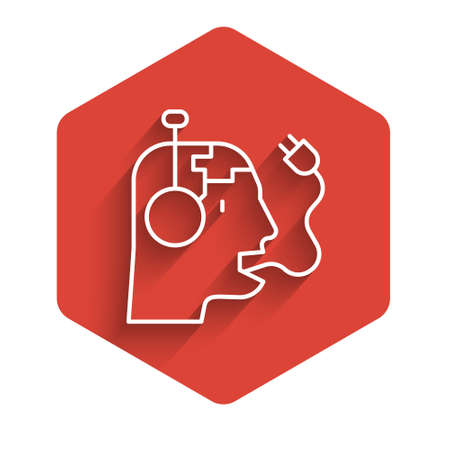 White line Robot charging battery icon isolated with long shadow. Artificial intelligence, machine learning, cloud computing. Red hexagon button. Vector 矢量图像