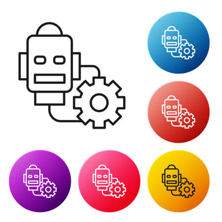 Black line Robot setting icon isolated on white background. Artificial intelligence, machine learning, cloud computing. Set icons colorful circle buttons. Vector