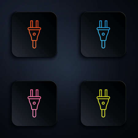 Color neon line Electric plug icon isolated on black background. Concept of connection and disconnection of the electricity. Set icons in square buttons. Vector 矢量图像