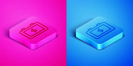 Isometric line Battery icon isolated on pink and blue background. Lightning bolt symbol. Square button. Vector
