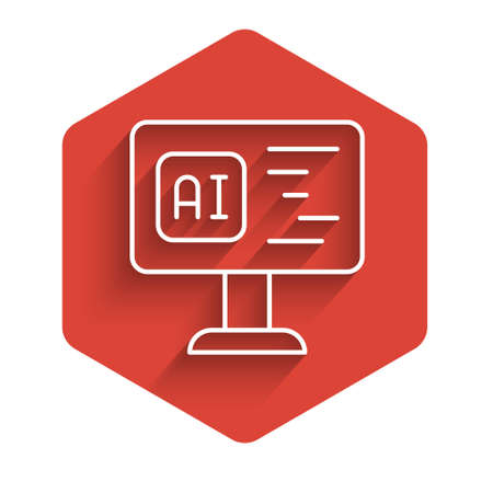 White line Software, web developer programming code icon isolated with long shadow.   computer script random parts of program code. Red hexagon button. Vector