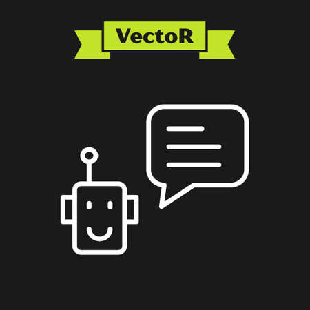 White line Bot icon isolated on black background. Robot icon. Vector