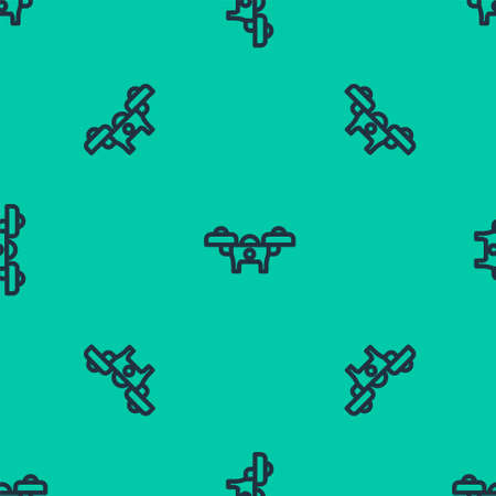 Blue line Drone flying icon isolated seamless pattern on green background. Quadrocopter with video and photo camera symbol. Vector
