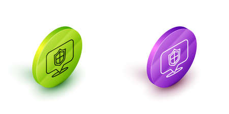 Isometric line Location shield icon isolated on white background. Insurance concept. Guard sign. Security, safety, protection, privacy concept. Green and purple circle buttons. Vector