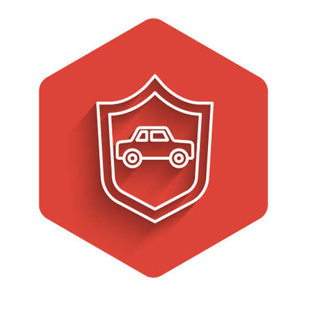 White line Car with shield icon isolated with long shadow. Insurance concept. Security, safety, protection, protect concept. Red hexagon button. Vector