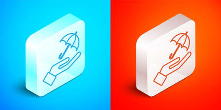 Isometric line Umbrella in hand icon isolated on blue and red background. Insurance concept. Waterproof icon. Protection, safety, security concept. Silver square button. Vector 矢量图像