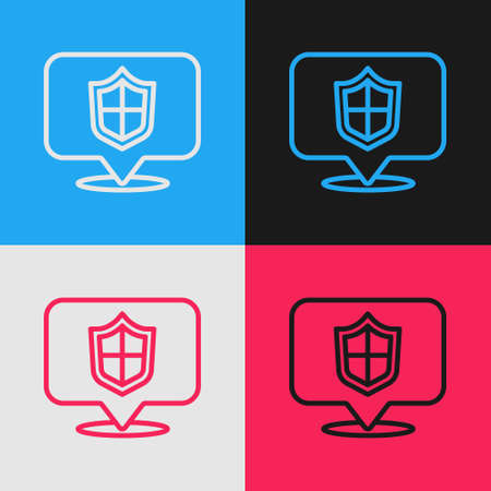 Pop art line Location shield icon isolated on color background. Insurance concept. Guard sign. Security, safety, protection, privacy concept. Vector