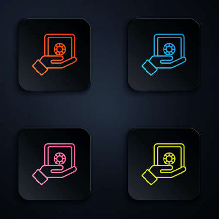 Color neon line Safe in hand icon isolated on black background. Insurance concept. Security, safety, protection, protect concept. Set icons in square buttons. Vector