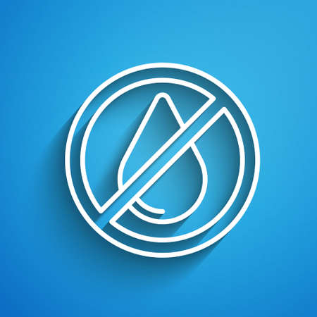White line Water drop forbidden icon isolated on blue background. No water sign. Long shadow. Vector 矢量图像