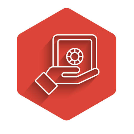 White line Safe in hand icon isolated with long shadow. Insurance concept. Security, safety, protection, protect concept. Red hexagon button. Vector
