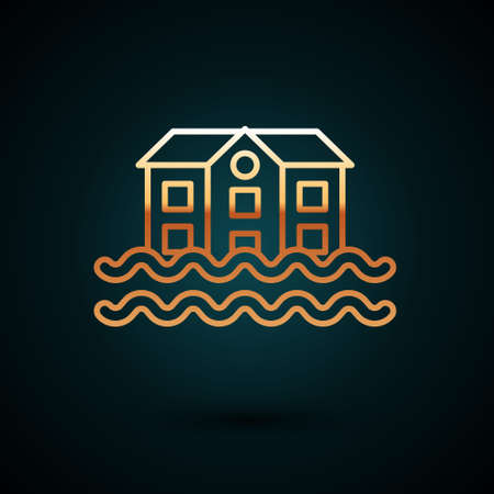Gold line House flood icon isolated on dark blue background. Home flooding under water. Insurance concept. Security, safety, protection, protect concept. Vector