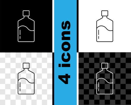 Set line Big bottle with clean water icon isolated on black and white, transparent background. Plastic container for the cooler. Vector 矢量图像