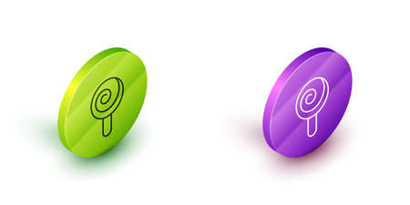 Isometric line Lollipop icon isolated on white background. Candy sign. Food, delicious symbol. Green and purple circle buttons. Vector