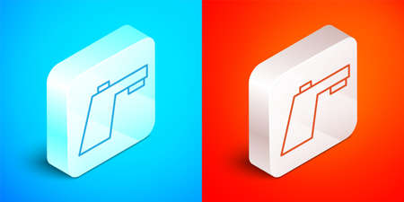 Isometric line Water tap icon isolated on blue and red background. Silver square button. Vector