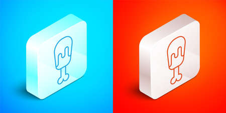 Isometric line Chicken leg icon isolated on blue and red background. Chicken drumstick. Silver square button. Vector 矢量图像