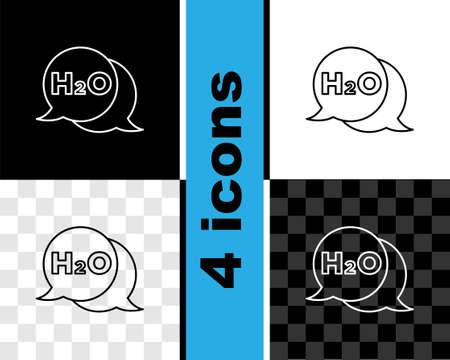 Set line Chemical formula for water drops H2O shaped icon isolated on black and white, transparent background. Vector