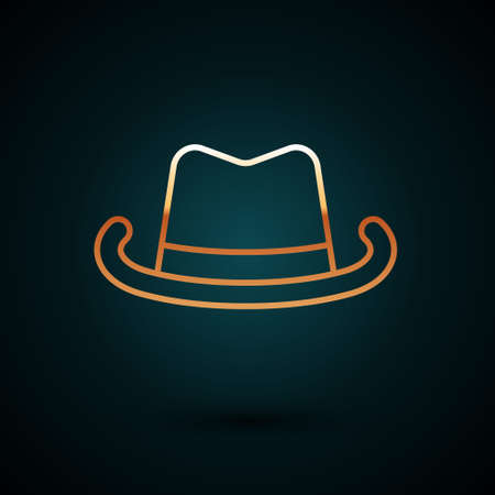 Gold line Western cowboy hat icon isolated on dark blue background. Vector