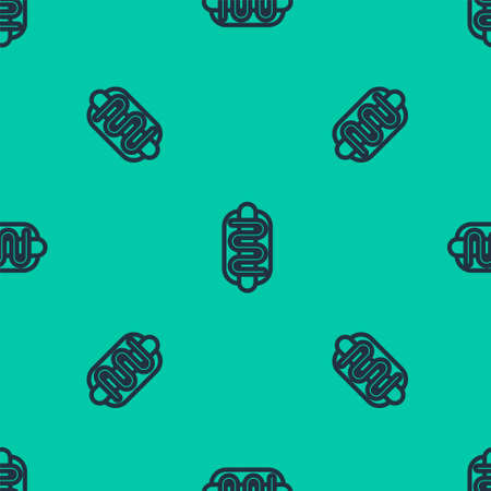 Blue line Hotdog sandwich icon isolated seamless pattern on green background. Sausage icon. Fast food sign. Vector