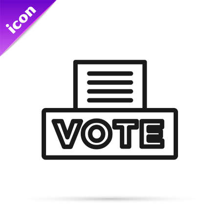 Black line Vote box or ballot box with envelope icon isolated on white background. Vector 矢量图像