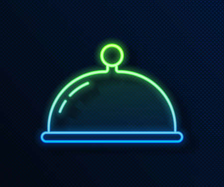 Glowing neon line Covered with a tray of food icon isolated on blue background. Tray and lid sign. Restaurant cloche with lid. Vector