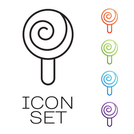 Black line Lollipop icon isolated on white background. Candy sign. Food, delicious symbol. Set icons colorful. Vector 矢量图像