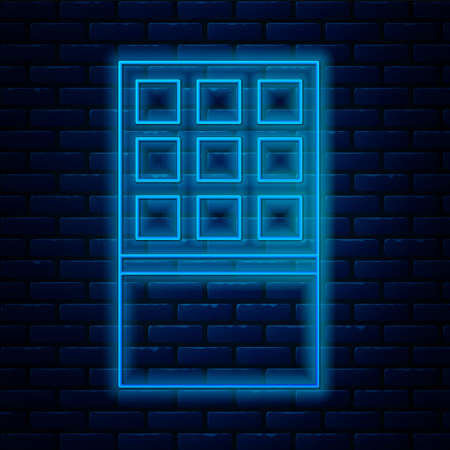 Glowing neon line Chocolate bar icon isolated on brick wall background. Vector