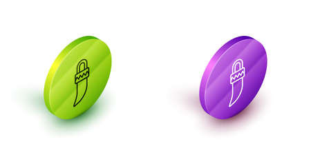 Isometric line Native american indian tooth icon isolated on white background. Necklace with tooth. Green and purple circle buttons. Vector