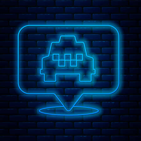 Glowing neon line Map pointer with taxi icon isolated on brick wall background. Location symbol. Vector