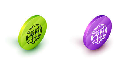 Isometric line Taxi car roof icon isolated on white background. Green and purple circle buttons. Vector 矢量图像