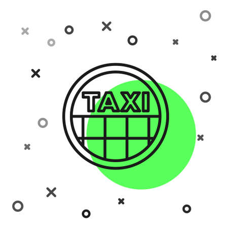 Black line Taxi car roof icon isolated on white background. Vector
