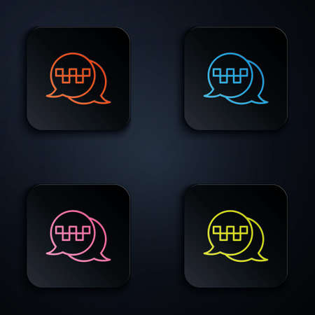 Color neon line Taxi call telephone service icon isolated on black background. Speech bubble symbol. Taxi for smartphone. Set icons in square buttons. Vector 矢量图像