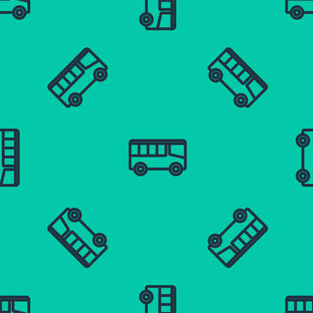 Blue line Bus icon isolated seamless pattern on green background. Transportation concept. Bus tour transport sign. Tourism or public vehicle symbol. Vector 矢量图像