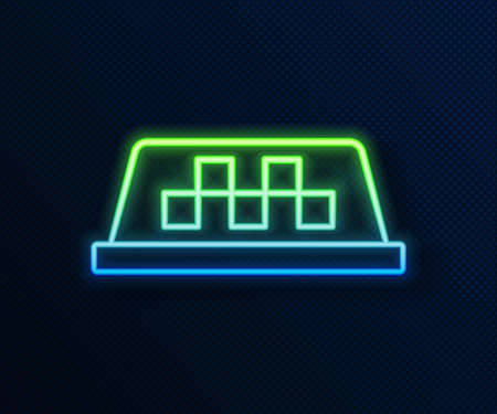 Glowing neon line Taxi car roof icon isolated on blue background. Vector